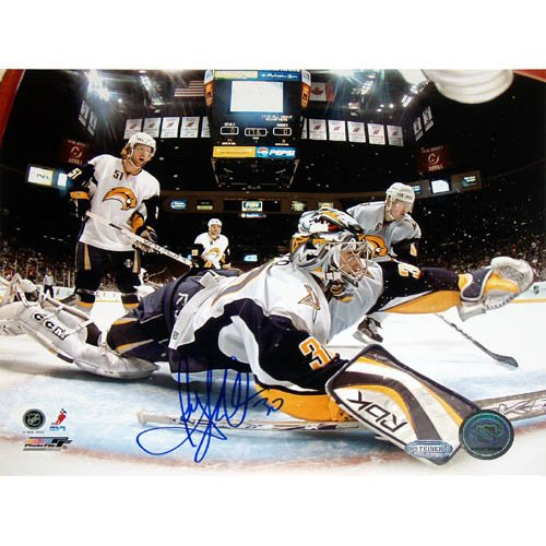 NHL Ryan Miller Goal Cam Glove Save Vs Devils Autographed 8-by-10-Inch Photograph