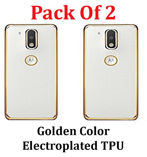 Febelo (TM) Combo pack of High Quality Ultra Thin Transparent Silicon Electroplated Golden + Silver Edge TPU Flexible Back Case Cover for Moto G PLUS 4th GENERATION  available at amazon for Rs.149