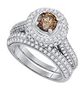 2.07 cttw 14k White Gold Cognac Brown Diamond White Diamond Halo Bridal Set ((L0400) Womens Size 4)