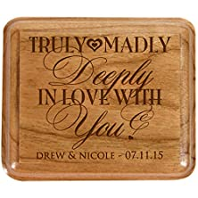 buy Personalized Double Cherry Wooden Double Wedding Ring Box For Ceremony ,Custom Engagement Ring Box Holder Truly Madly In Love With You By Dayspring Milestones