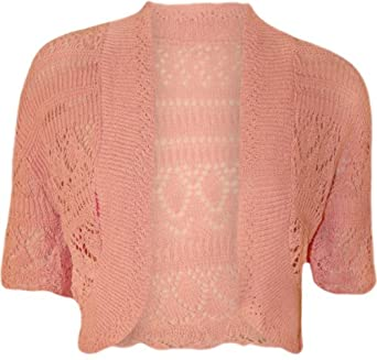 WearAll Women's Crochet Knitted Short Sleeve Bolero - Pink - US 10-12 (UK 14-16)