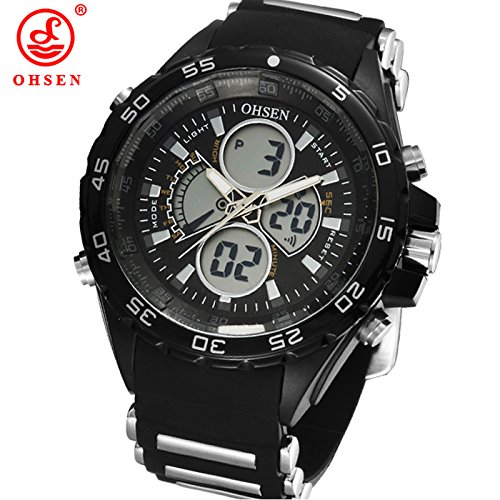 Caleen6 Ohsen Watch Black Rubber Strap 2 Time Zones Analog-Digital Sports Watches
