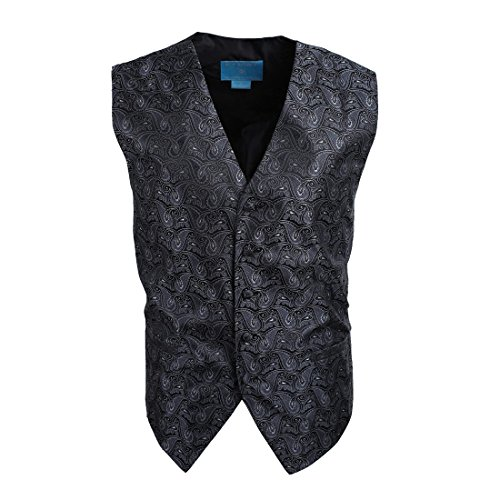 Egc1B08B-L Dim Grey Black Patterned Series For Groomsmen Waistcoat Woven Microfiber Holy Saturday Vest Large Vest By Epoint