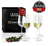 Dobaccio White Wine Glasses - Finest Crystal Clear Glass Drinking Cups - Set of 4