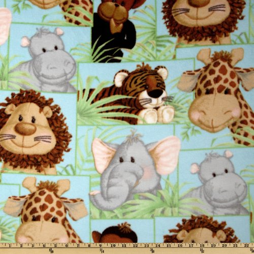 Jungle babies fleece patchwork animals blue fabric for Childrens jungle fabric