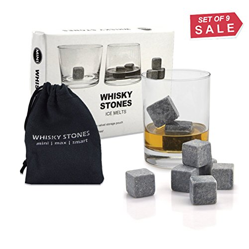 Whiskey Stones, Yummy Sam Reusable Ice Stone Chilling Rocks Cubes in Gift Box with Carrying Pouch, Set of 9 for Whiskey, Bourbon, Wine or Other Spirits