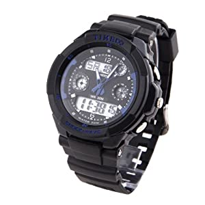 TIME100 Dual-time Multifunction Blue Bezel Sport Electronic Watch #W40017M.05A