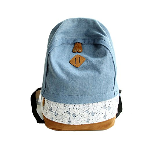 Generic-Moda-de-encaje-Denim-Mujer-mochila-de-lona-mochila