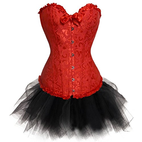 Red Plus Size Floral Corset Basque Tutu Skirt Halloween Party Night Costume