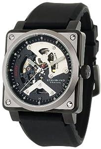 Stuhrling Original Men's Leisure Raven Diablo Automatic Skeleton Black Rubber Strap Watch - 179A.331613