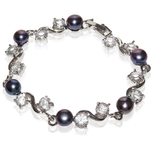 Fresh Water Pearl Bracelet with Cz Stone with Rhodium Plated