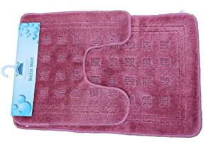 tache 2 piece super absorbent solid purple pink bathroom mat rug set bath rugs. Black Bedroom Furniture Sets. Home Design Ideas