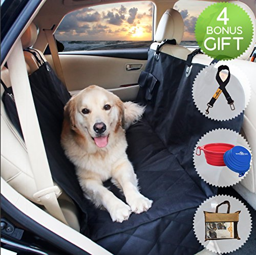 Dog Hammock Seat Cover for Cars & SUV with Side Flaps BARKNPURR PERFECT- Pet Waterproof Back Seat Rear Bench Protector with Non Slip Backing, Seat Anchors, Seat Belt & Latch Openings, Machine Washable (Dodge Ram Backseat Cover compare prices)