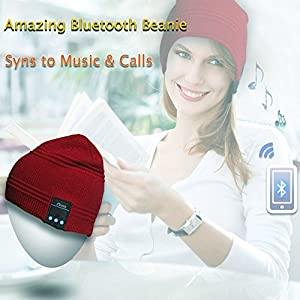 Rotibox Outdoor Bluetooth Beanie Hat - Music Beanie Hat Pom Pom w/ Bluetooth Stereo Speaker Headphones,Microphone,Hands Free and Rechargeable battery - Compatible With Mobile Phones,iPhone,iPad,Samsung,Tablets,Smartphones