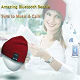 Rotibox Unisex Adult Bluetooth Beanie Hat Trendy Soft Warm Audio Cap Musicphone with Wireless Headphone Headset Speaker Mic Hands-free for Winter Outdoor Sport Skiing Snowboard,Christmas Gift - Red