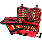 Wiha 32800 Insulated Tool Set with Screwdrivers, Nut Drivers, Pliers, Cutters, Ruler, Knife and Sockets in Rolling Tool Case, 80-Piece Set