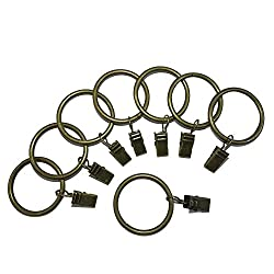 Set of 14 Decorative Drapery Curtain Clip Rings With Strong Clips 1.5