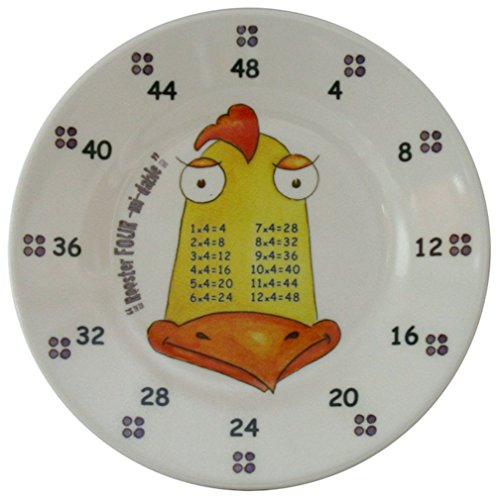 The Multiples Times Table Dinnerware Rooster Four-Midable 6.5 inch Melamine Plate