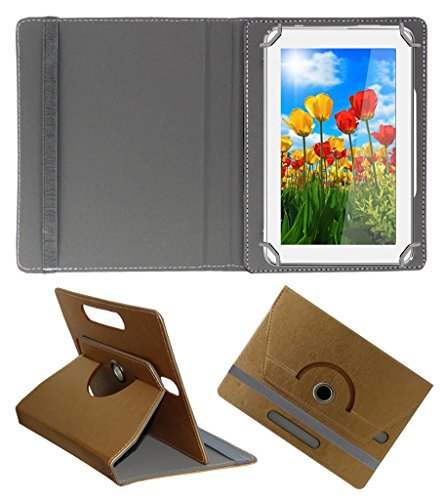 Acm Designer Rotating 360° Leather Flip Case For Tescom Turbo 2g Tablet Stand Premium Cover Golden  available at amazon for Rs.169
