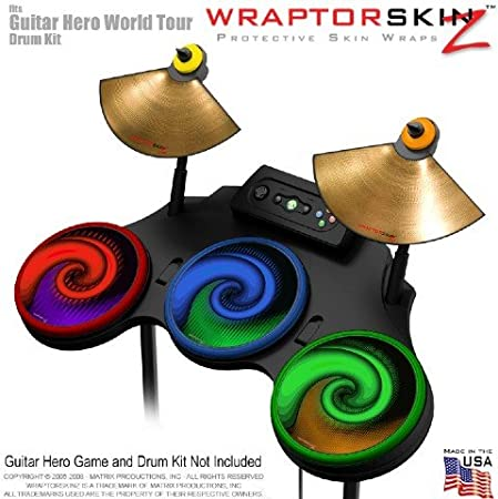 Alecias Swirl 01 Colors Skin by WraptorSkinz fits Guitar Hero 4 World Tour Drum Set for Nintendo Wii, XBOX 360, PS2 & PS3 (DRUMS NOT INCLUDED)