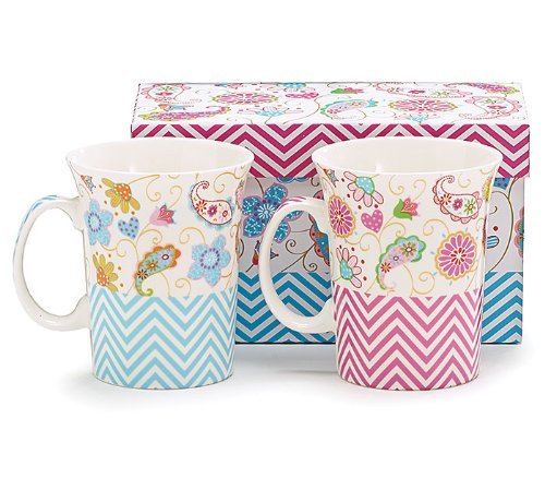 Set of 2 Paisley and Chevron China Coffee Mugs/cups with Decorative Gift Box (Paisley Coffee Mug compare prices)