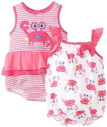 Watch Me Grow! by Sesame Street Baby-Girls Newborn 2 Piece Crab Romper Set, Pink, 3-6 Months