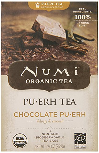 Numi Organic Tea Chocolate Puerh, Full Leaf Black Tea, 16-Count Tea Bags (Pack of 2) (Numi Chocolate Puerh compare prices)
