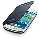 Samsung Galaxy S3 Mini Leather-Feel Flip Case - Pebble Blue