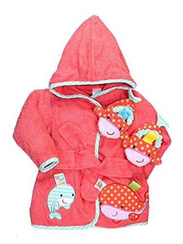 Coral Pink Baby Girl Whale Bath Robe And Slippers By Taggies - Pink - 0-9 Mths front-821001