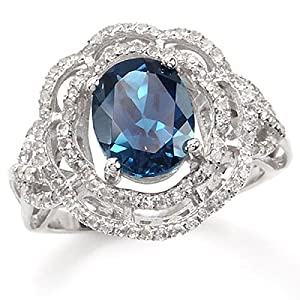 3.12ct London Blue Topaz White Gold Plated Sterling Silver Flower Ring SZ Size 9