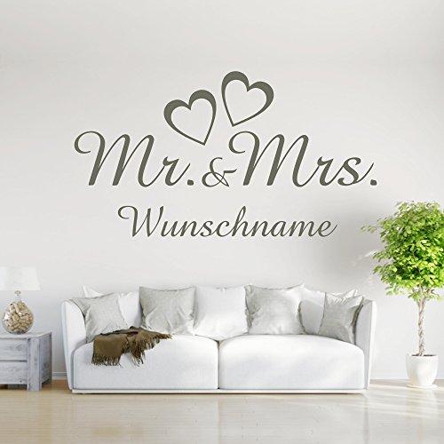 eDesign24 Wandtattoo Mr and Mrs Wunschname Herr und Frau Liebe Ehepaar Hochzeit Name Wanddekoration Wanddesign ca. 40 x 22 cm schwarz
