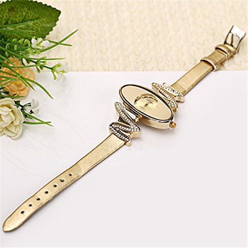 Retro Gold Leather Strap Brand Women Watch Strass Rhinestone Jewelry Quartz Wrist Watches 4