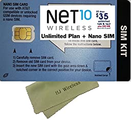 Net 10 Wireless Nano SIM Card with $35 Plan. Net Ten Nano Cut 4G LTE SIM Unlimited Talk/Text/Data SIM Prefunded Preloaded Activation Kit for At&t and GSM Unlocked Phones($35 Monthly Plan)