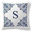 Monogrammed Outdoor Pillow in Brown/Blue - I - Frontgate from Frontgate