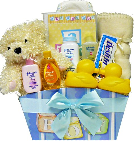 It's A BOY! New Baby Gift Basket with Teddy Bear