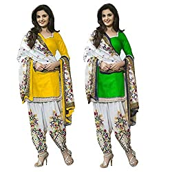 Janasya Women's Unstitched Polyester Dress Material COmbo (Yellow & Green)