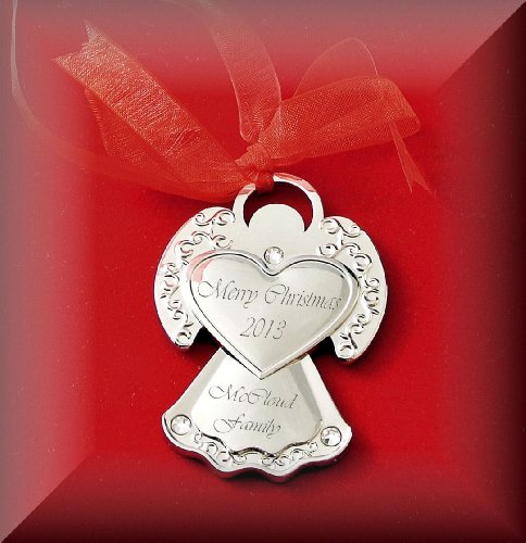 Personalized Silver Guardian Angel Ornament Engraved Free