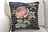 Tache 2 Piece 18 X 18 Inch Black Solitary Rose Decorative Throw Pillow Cushion Cover Set