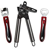 Bobbi Jean's Manual Can Openers 3 Pc Set, Red: Bottle Opener, Can Punch & Stainless Steel Can Opener.