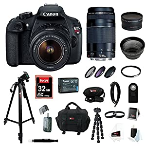 Canon EOS Rebel T5 DSLR Camera with EF-S 18-55mm IS II & 75-300mm Zoom Lens + 32GB Memory Card + Extra Battery Pack + Deluxe Accessory Kit