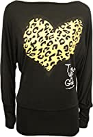 Ladies Animal Heart Print Batwing Womens Stretch Leopard Long Sleeve Top Sizes 8 / 10 , 12 / 14