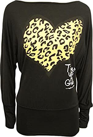Ladies Animal Heart Print Batwing Womens Stretch Leopard Long Sleeve Top Black 8/10