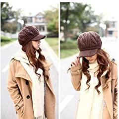 WAWO Women Girl Slouchy Knit Beanie Winter Newsboy Snow Hat Color Brown