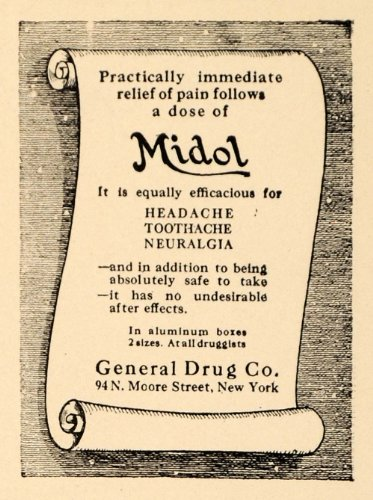 1923-ad-midol-general-drug-headache-toothache-neuralgia-original-print-ad