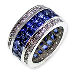 Diamond Cut Signity Stone Cubic Zirconia & Created Blue Sapphire in Sterling Silver Classic Eternity Ring