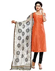 Varanga Orange Embroidered Dress Material with Matching Dupatta KF6MGC6005