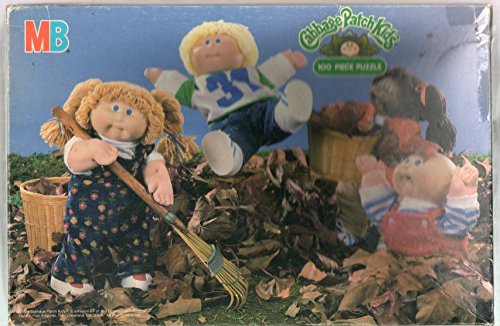 "MB Puzzles: CABBAGE PATCH KIDS 100 PIECE PUZZLE ""Raking Leaves"", # 4476-3, Ages 5 to 10, 16 X 11 inches 1984 - 1"