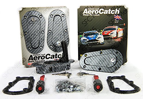 AeroCatch Plus Flush Locking Hood Latch and Pin Kit - Black Carbon Fiber Look - Now includes Molded Fixing Plates - Part # 120-3100 (Carbon Fiber Locking Hood Pins compare prices)