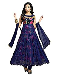 Womens Silk & Net Anarkali Dress Material (Mfgn_2141_FreeSize_BlueColor)