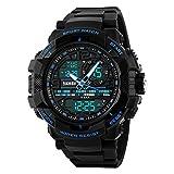 Gosasa Students Sport Watch Men Electronic Digital Analog Watch Waterproof Wristwatches Blue